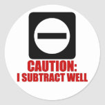 Subtraction 1 Red Classic Round Sticker