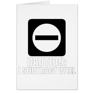 Subtraction 1 White Card