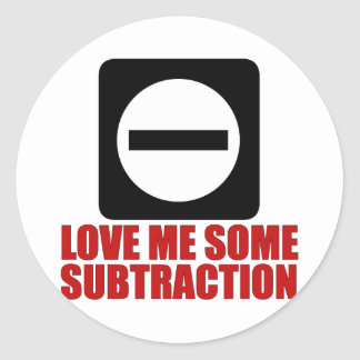 Subtraction 2 Red Classic Round Sticker