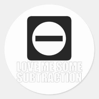 Subtraction 2 White Classic Round Sticker