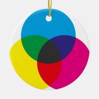 Subtractive Color Mixing Chart Double-Sided Ceramic Round Christmas Ornament