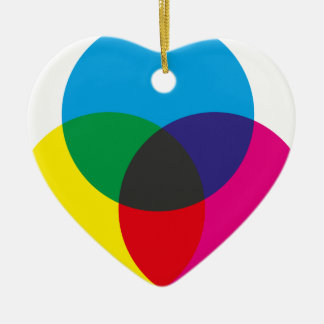 Subtractive Color Mixing Chart Double-Sided Heart Ceramic Christmas Ornament