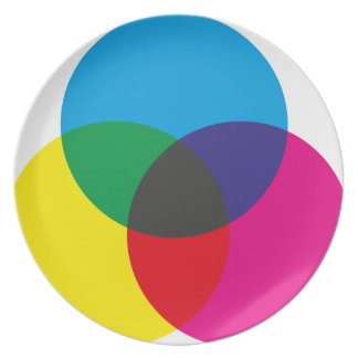 Subtractive Color Mixing Chart Party Plate