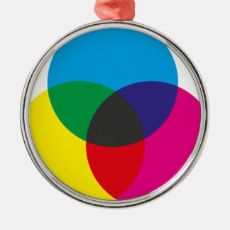 Subtractive Color Mixing Chart Round Metal Christmas Ornament