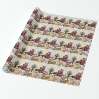 Suburb under snow by Paul Gauguin Wrapping Paper