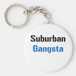 Suburban Gangsta Basic Round Button Keychain