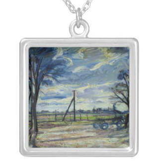 Suburban Landscape in Spring Silver Plated Necklace