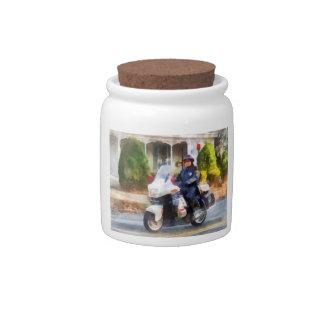 Suburban Motorcycle Cop Candy Jars