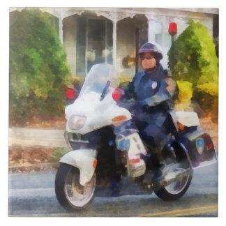 Suburban Motorcycle Cop Ceramic Tile
