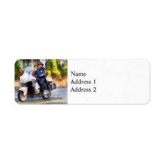 Suburban Motorcycle Cop Custom Return Address Labels