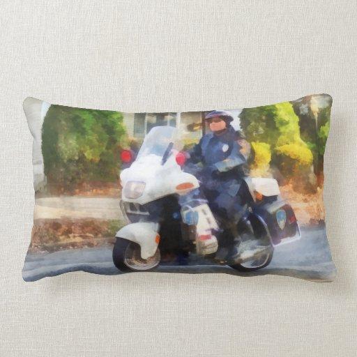 Suburban Motorcycle Cop Pillow
