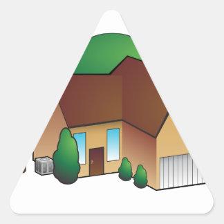 Suburban Residential Home Icon Triangle Sticker