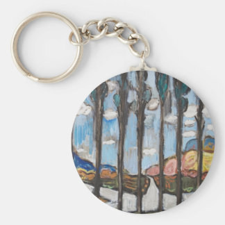 Suburban Road Junction on a sunny winter day Keychain