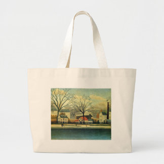 Suburban Scene by Henri Rousseau Large Tote Bag