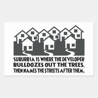 Suburban Sprawl, Environmental Stewardship Rectangular Sticker