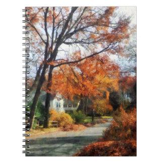 Suburban Street in Autumn Spiral Note Books