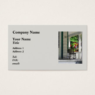 Suburbs - Porch With Rocking Chair and Geraniums Business Card