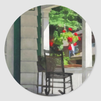 Suburbs - Porch With Rocking Chair and Geraniums Classic Round Sticker