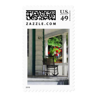Suburbs - Porch With Rocking Chair and Geraniums Postage