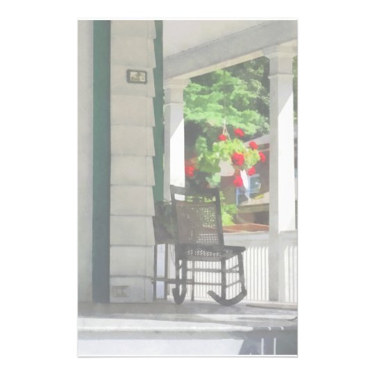 Suburbs - Porch With Rocking Chair and Geraniums Stationery