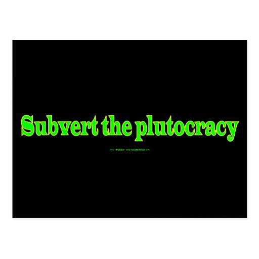 SubvertPlutocracy Tarjeta Postal