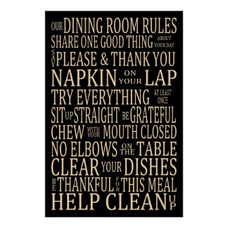 Subway Art Dining Room Rules Poster