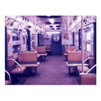 Subway Car Interior, New York City Vintage Postcard