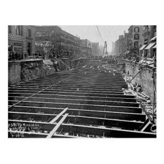 Subway Excavation Seventh Ave New York City 1913 Postcard