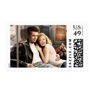 Subway Riders Postage Stamps