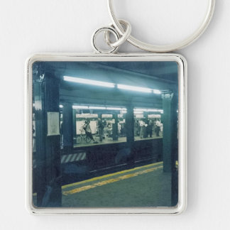 Subway Station Silver-Colored Square Keychain