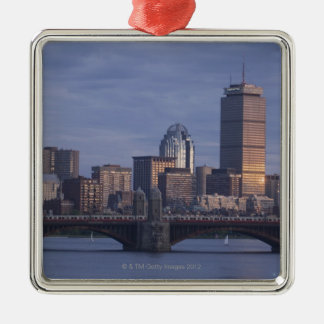 Subway trains on The Longfellow Bridge over The Square Metal Christmas Ornament
