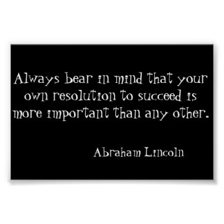 Success Abraham Lincoln Quote Poster Art Print