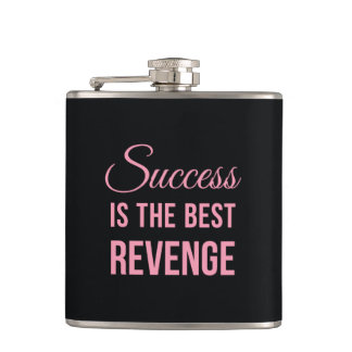 Success Best Revenge Funny Quote Black Pink Flask