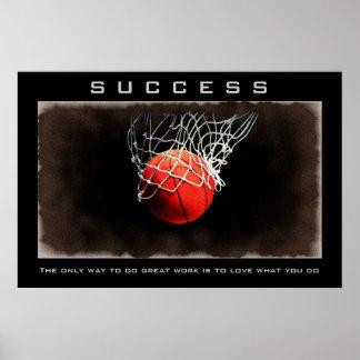 Success Close-up Basketball Artwork Motivational Poster