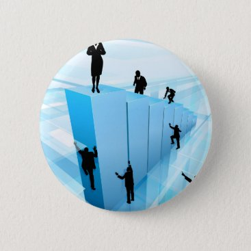 Success Concept Business People Silhouettes Pinback Button