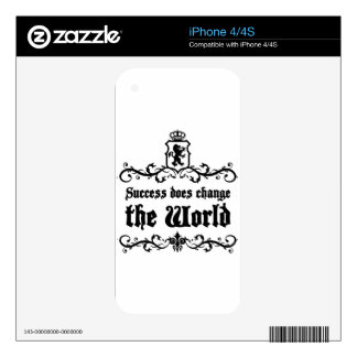 Success Does Change The World Medieval quote iPhone 4 Decals