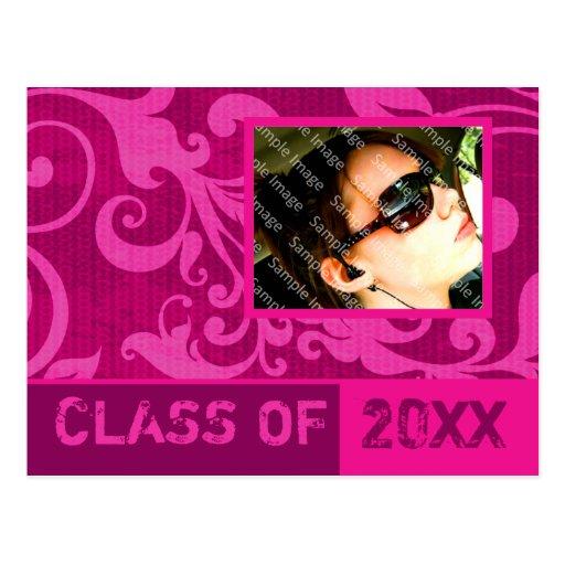 Success Hot Pink Graduation Invitation Postcard