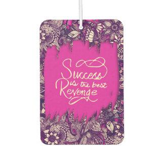 """Success is the Best Revenge"" Hand Drawn Flowers Air Freshener"