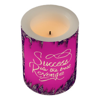 """Success is the Best Revenge"" Hand Drawn Flowers Flameless Candle"