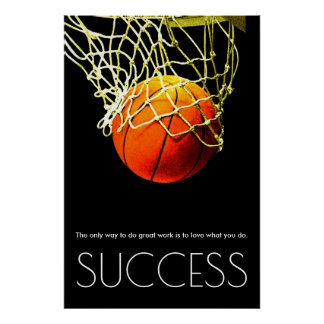 Success Motivational Basketball Trendy Poster