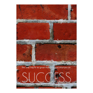 Success Motivational Trendy Stylish Red Wall Brick Poster