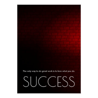 Success Motivational Trendy Stylish Red Wall Poster