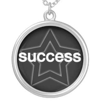 Success on a Star Background Silver Plated Necklace