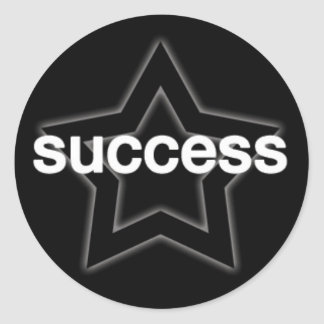Success on a Star Background Classic Round Sticker