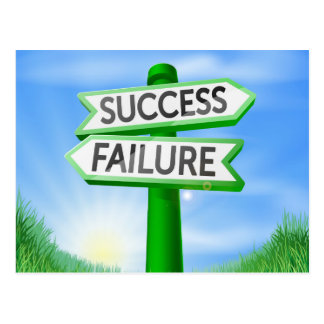 Success or failure decision sign postcard