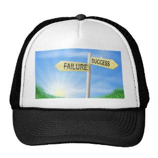 Success or failure sign concept hats
