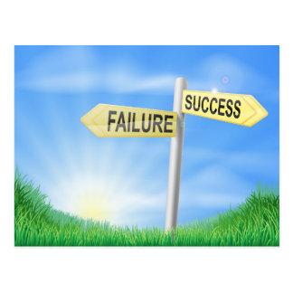 Success or failure sign concept postcard