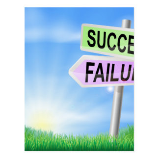Success or failure sign in field postcard
