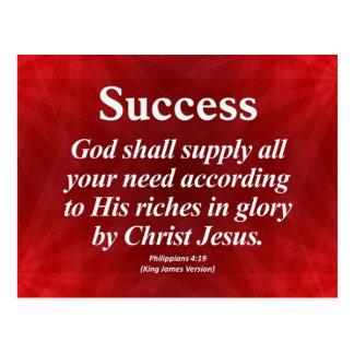 Success Philippians 4:19 Post Card