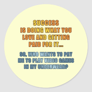 Success - Play Video Games Classic Round Sticker